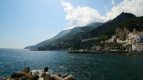 Panoramic view of world famous Amalfi shore. Campania, Italy Footage