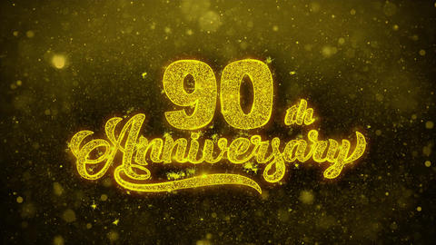 90th Happy Anniversary Golden Text Blinking Particles... Stock Video Footage