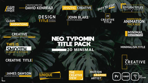 Neo Typomin Title Pack Motion Graphics Template