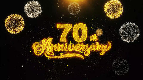 70th Happy Anniversary Wishes Greetings card, Invitation, Celebration Firework Footage