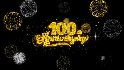 100th Happy Anniversary Golden Text Blinking Particles with Golden Fireworks Live Action