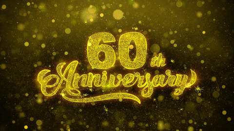 60th Happy Anniversary Golden Text Blinking Particles with Golden Fireworks Live Action
