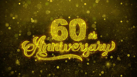 60th Happy Anniversary Golden Text Blinking Particles... Stock Video Footage