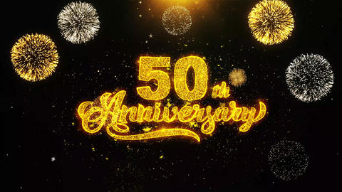50th Happy Anniversary Wishes Greetings card, Invitation, Celebration Firework Live Action
