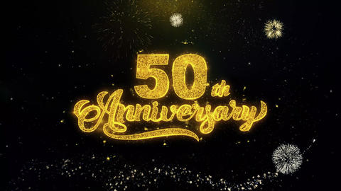 50th Happy Anniversary Written Gold Particles Exploding Fireworks Display Footage