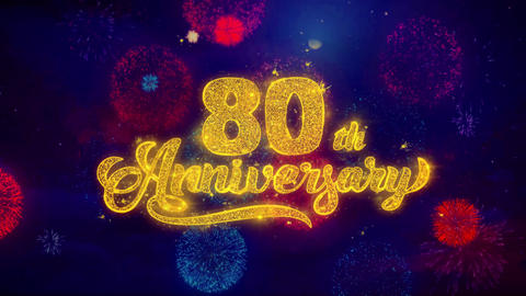 80th Happy Anniversary Greeting Text Sparkle Particles on… Stock Video Footage