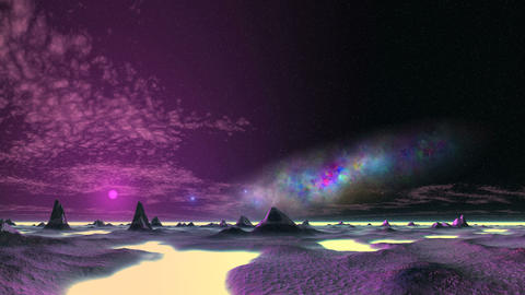 Beautiful Nebula and UFO over an Alien Desert Animation