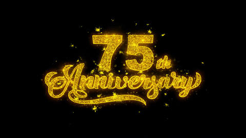 75th Happy Anniversary Typography Written with Golden Particles Sparks Fireworks Footage