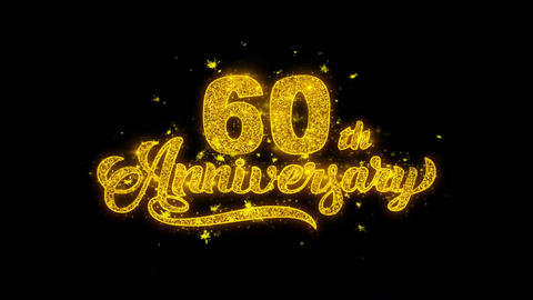 60th Happy Anniversary Typography Written with Golden Particles Sparks Fireworks Footage