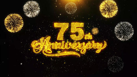 75th Happy Anniversary Wishes Greetings card, Invitation, Celebration Firework Footage