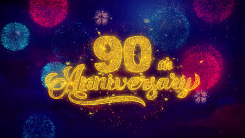 90th Happy Anniversary Greeting Text Sparkle Particles on Colored Fireworks Footage