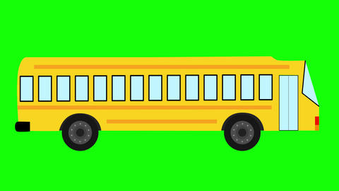 School Bus animated against green background. Back to school concept Animation