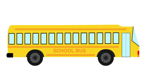 School Bus animated against white background. Back to school concept Animation
