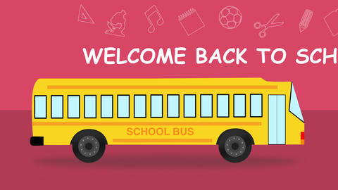 Back to school flat style colourful School Bus looped animation Animation