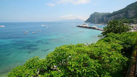 Marina Grande beach in world famous Capri island. Campania, Italy Live Action
