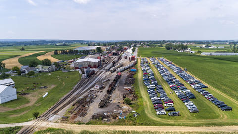 Aerial View of Train Yard Waiting for Trains フォト