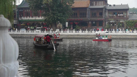 Beijing ferry boat traveling on HouHai lake Footage