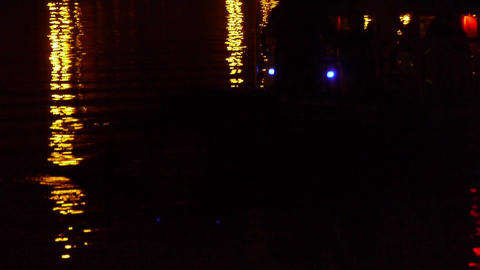 reflection on lake with splendid lighting.Ferry boats... Stock Video Footage