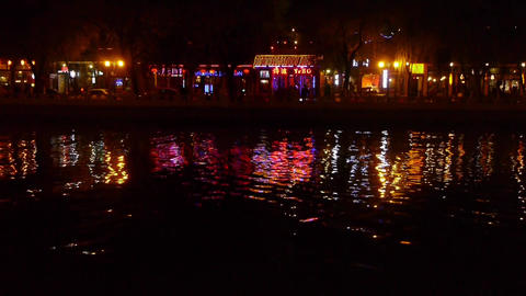 reflection on lake with splendid China ancient architectural lighting.BeiJing Ho Footage