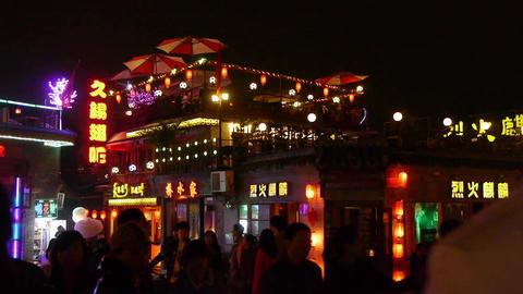 Crowd pedestrian people Walk on China Beijing bar... Stock Video Footage