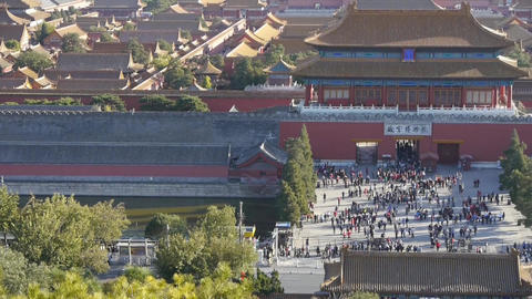 Panoramic of China ancient tower architecture Beijing Forbidden City Footage