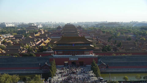 Many tourists people at China ancient architecture Beijing Forbidden City entran Footage