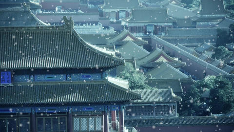 Panoramic of China ancient tower architecture Beijing Forbidden City in winter s Footage
