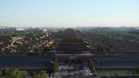 Panoramic of Many tourists people at China ancient architecture Beijing Forbidde Footage