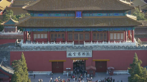 Panoramic of Many tourists people at China ancient... Stock Video Footage