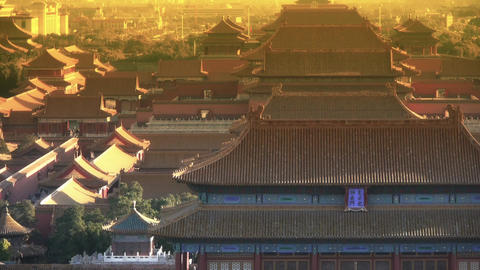 Panoramic of China ancient tower architecture Beijing Forbidden City at dusk Footage