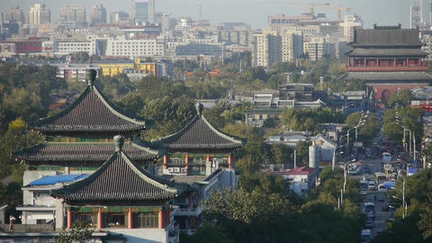 Panoramic of China ancient tower architecture & urban high rise building.Bei Footage