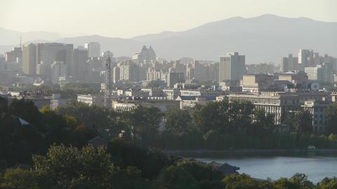 panoramic view of BeiJing BeiHai Park White Tower &... Stock Video Footage