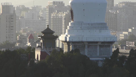panoramic view of BeiJing BeiHai Park White Tower & metropolis high rise bui Footage