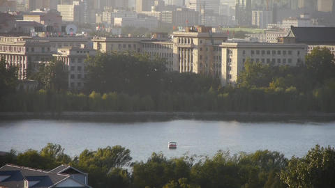 panoramic view of BeiJing BeiHai Park & flock of... Stock Video Footage