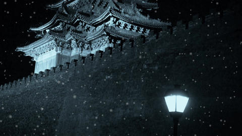 Panoramic of Beijing Forbidden City turret & street light in night.Gorgeous  Footage
