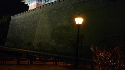 Panoramic of Beijing Forbidden City turret & street... Stock Video Footage