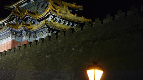 Panoramic of Beijing Forbidden City turret & street lights in night.Gorgeous Footage