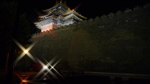 Panoramic of Beijing Forbidden City turret in... Stock Video Footage