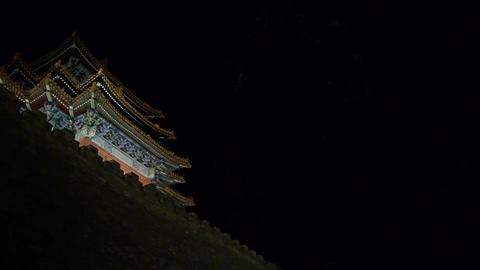 Panoramic of Beijing Forbidden City turret & crown of... Stock Video Footage