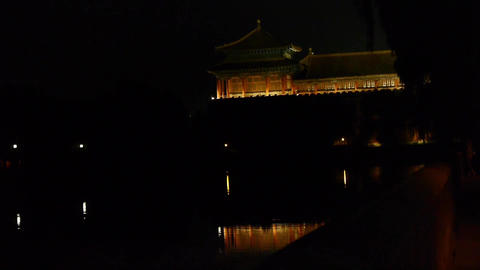 Gorgeous palace reflection in lake water.Panoramic of... Stock Video Footage