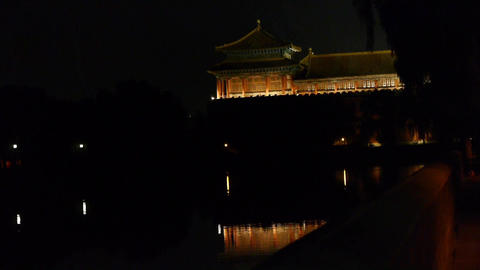 Gorgeous palace reflection in lake water.Panoramic of Beijing Forbidden City tur Footage