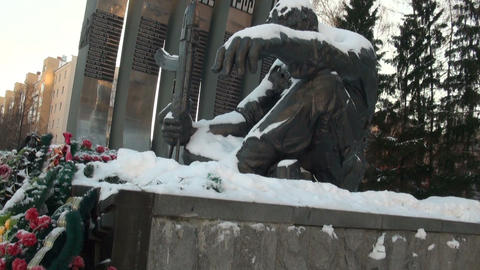 The monument of the Black Tulip in Yekaterinburg Stock Video Footage