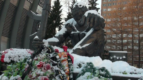 The monument of the Black Tulip in Yekaterinburg Footage