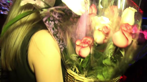 The girl with a bouquet Stock Video Footage