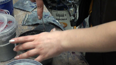Girl mix paint Stock Video Footage