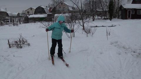 Girl skiing Footage