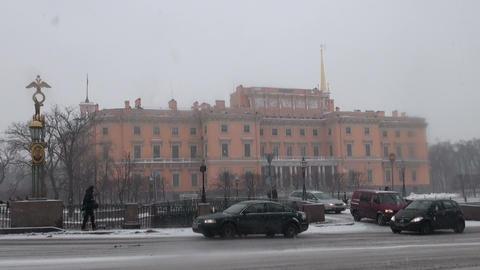 The Mikhailovsky castle in St. Petersburg Stock Video Footage