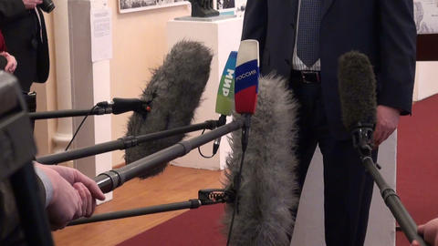 Microphones at the press-conference Stock Video Footage