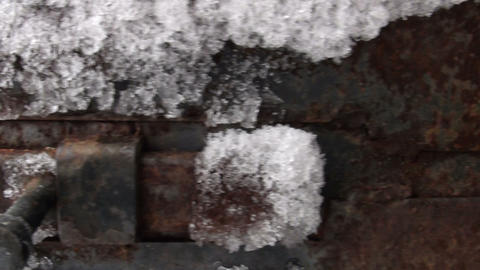 Frozen iron door, frost Stock Video Footage