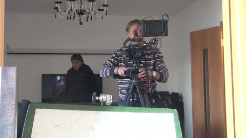 Film crew, journalists Stock Video Footage
